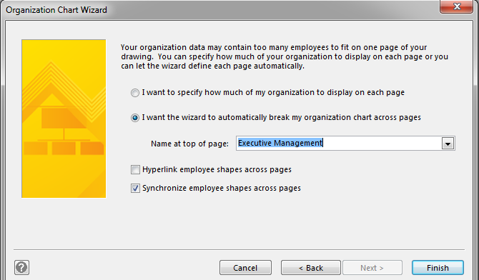 After You Click Finish MS Visio Will Generate The Organizational Chart Of Your Company