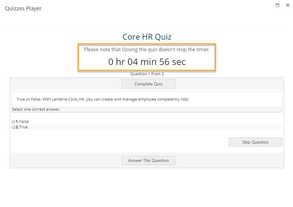 Lanteria Quizzes - Quiz Time Limit Example
