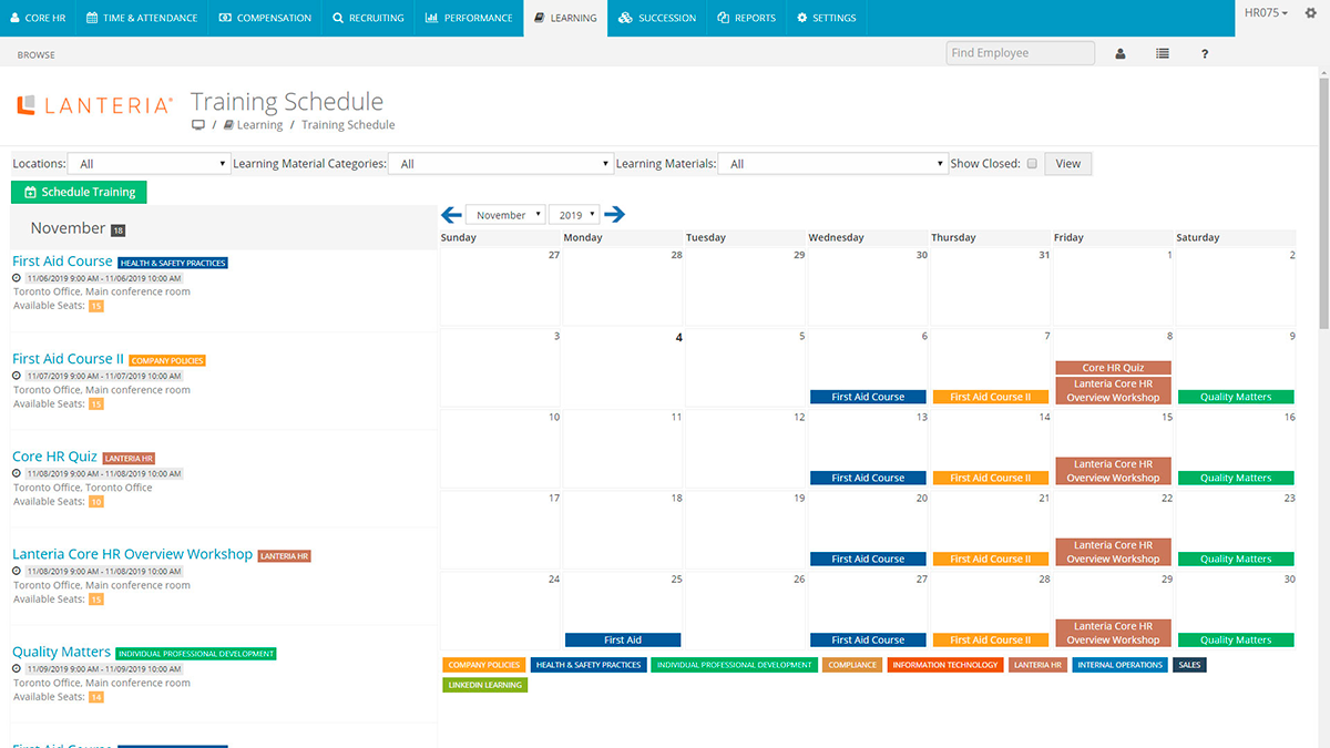 Training Schedule in Lanteria LMS