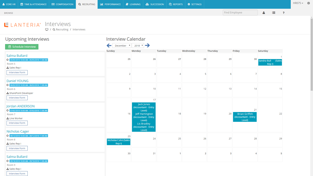Interview scheduling software by Lanteria